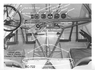 identifying controls and items in the CG-4A cockpit.