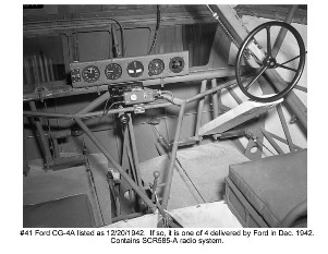 Ford Motor Company CG-4A cockpit photo #41 of December 20, 1942 showing single steering glider with BC-722 control box and push/pull knob, one of four Ford built CG-4A delivered in December 1942.