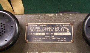 I.D. plate for BC-721 A radio show above.