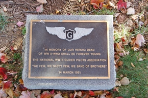 Glider Pilot's Memorial Plaque which rests under a beautiful red maple tree