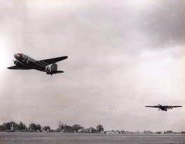 A C-47 and Horsa combination takes off from Greenham Common a part of the Elmira mission. The C-47