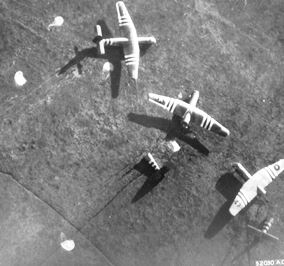 Horsa gliders in the Normandy fields.